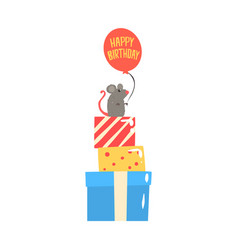 cute cartoon mouse sitting on colorful gift boxes vector image