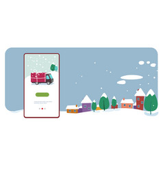 delivery truck with gift box container merry vector image