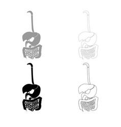 Digestive system icon outline set grey black color vector