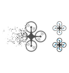 Dissolved pixel halftone flying quadcopter icon vector