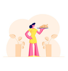 domestic food concept woman housewife holding vector image