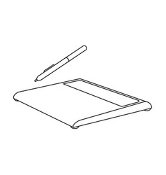 Drawing tablet icon in outline style isolated on vector