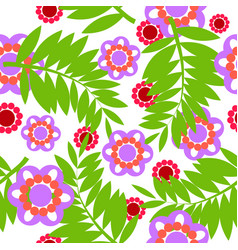 fern and flower pattern vector image