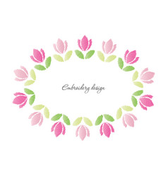 Floral oval frame embroidered tulips isolated vector