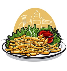 Fries with ketchup vector