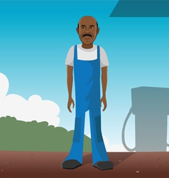 gas station worker vector image