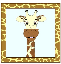 Giraffe portrait in giraffe frame vector image