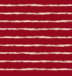 Gold foil horizontal stripes pattern red vector