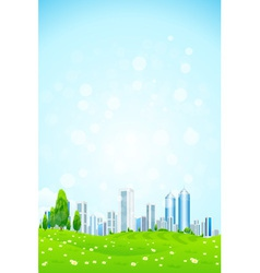 Green landscape with Trees City vector image