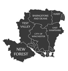 Hampshire county england uk black map with white vector