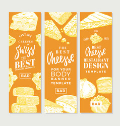 hand drawn food products vertical banners vector image