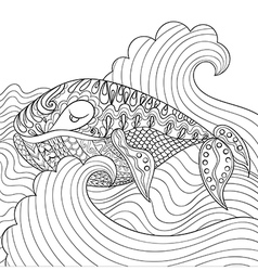 Hand drawn whale in the waves for antistress vector