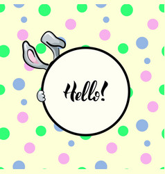 hello rabbit round frame vector image