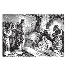 Jesus resurrects lazarus of bethany vintage vector