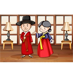 Korean style characters in house vector