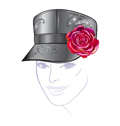 Leather cap with rose vector