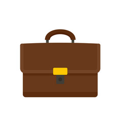 Leather suitcase icon flat style vector