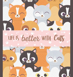 life is better with cats inscription banner paws vector image