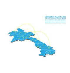 Modern of laos map connections network design vector