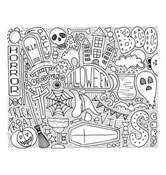 monochrome doodle art for halloween party vector image