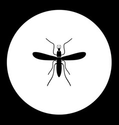 mosquito insect simple black and green icon eps10 vector image
