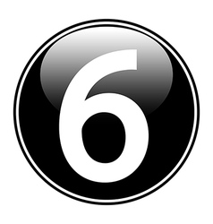 Number six button vector image vector image