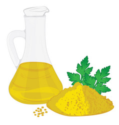 Organic mustard oil with mustard powder isolated vector