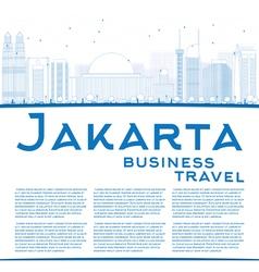 Outline Jakarta skyline with blue landmarks vector