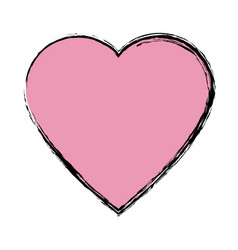 Pink heart love romantic symbol vector