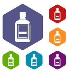plastic bottle icons set hexagon vector image