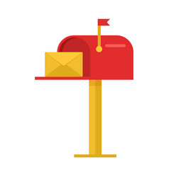 red mailbox with yellow envelope vector image