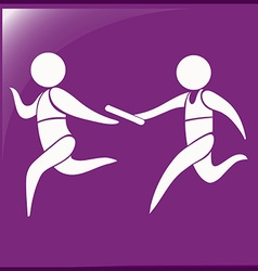 Relay running icon on purple background vector