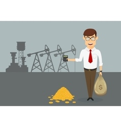 Rich businessman with money in front of oil pumps vector image