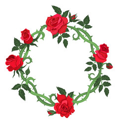 Round frame thorns and red roses isolated on a vector