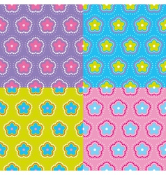 seamless colorful floral pattern set vector image