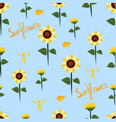seamless pattern with sunflowers vector image