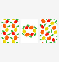 seamless patterns with strawberry lemon and mango vector image