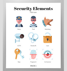 Security elements flat pack vector