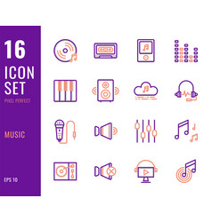 set 16 icons music thin line style vector image