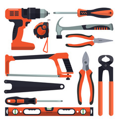 set building tools icons in flat style vector image