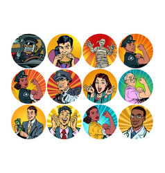 Set pop art round icons characters avatar vector