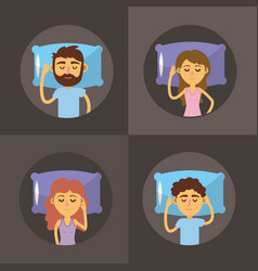 Set woman and man sleeping with good night vector