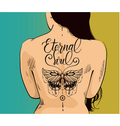 Sexy woman with butterfly tattoo on back vector