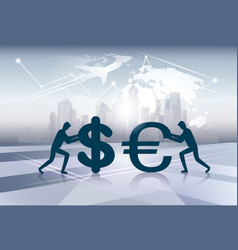 Silhouette business people finance money exchange vector
