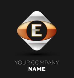 silver letter e logo symbol in the square shape vector image