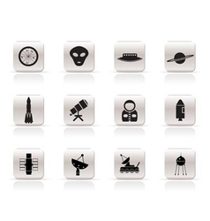 Simple astronautics and space icons vector