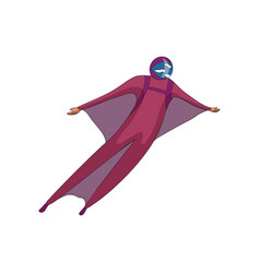 Skydiver soars in a purple helmet and a suit vector