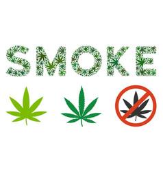 Smoke text composition of cannabis vector