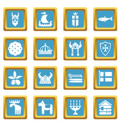 sweden travel icons set sapphirine square vector image