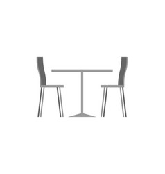 Table and chairs in cafe on white background vector